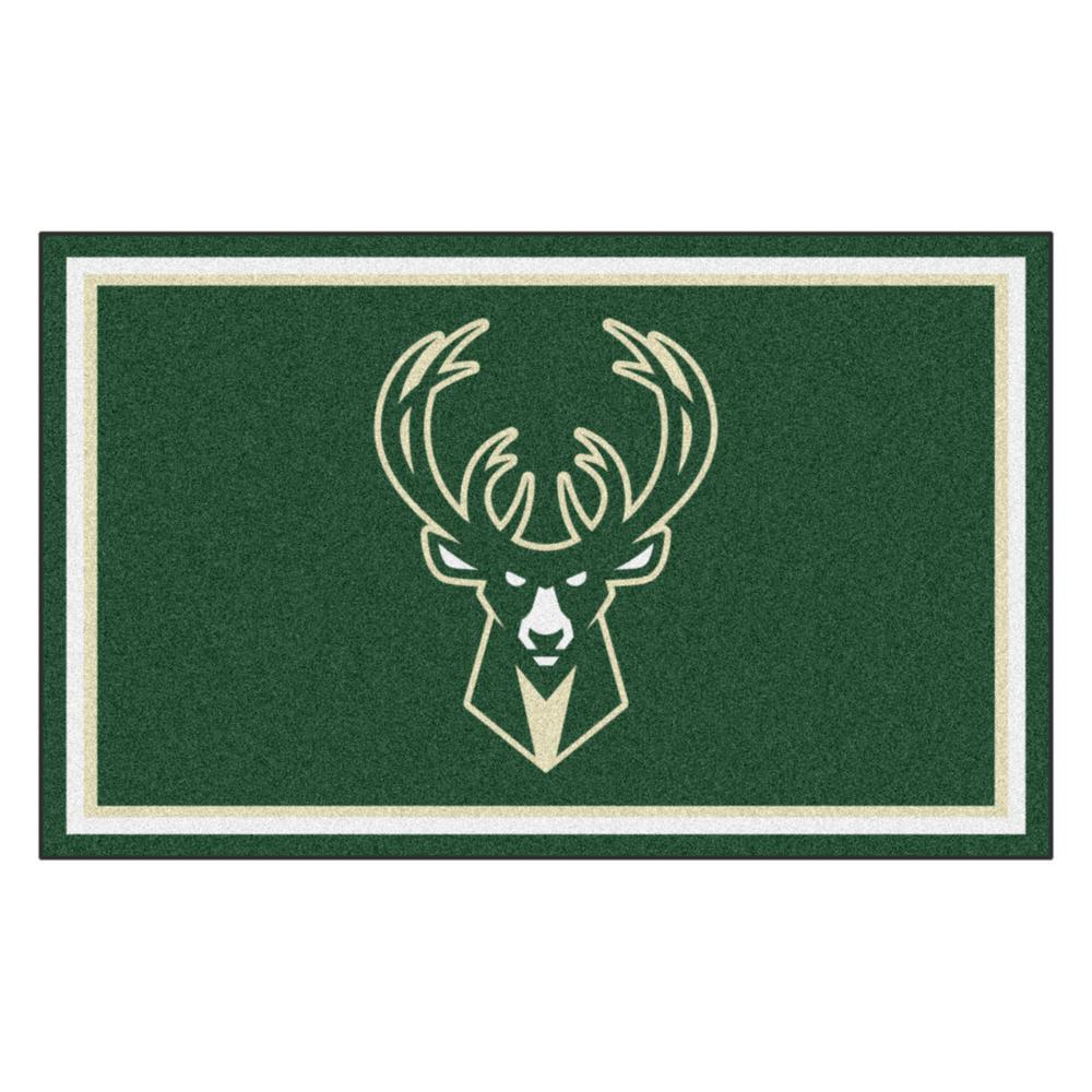FANMATS NBA - Milwaukee Bucks Green 6 ft. x 4 ft. Indoor Rectangle Area Rug