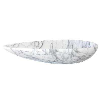 Pod Shaped Vessel Sink in Polished Carrara White Marble