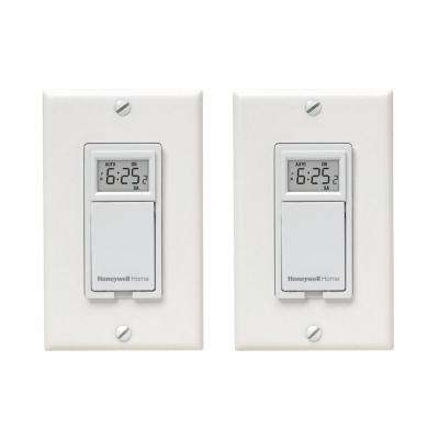 120-Volt 7-Day Indoor In-Wall Single Pole Digital Timer Toggle Switch for Lights (2-Pack)