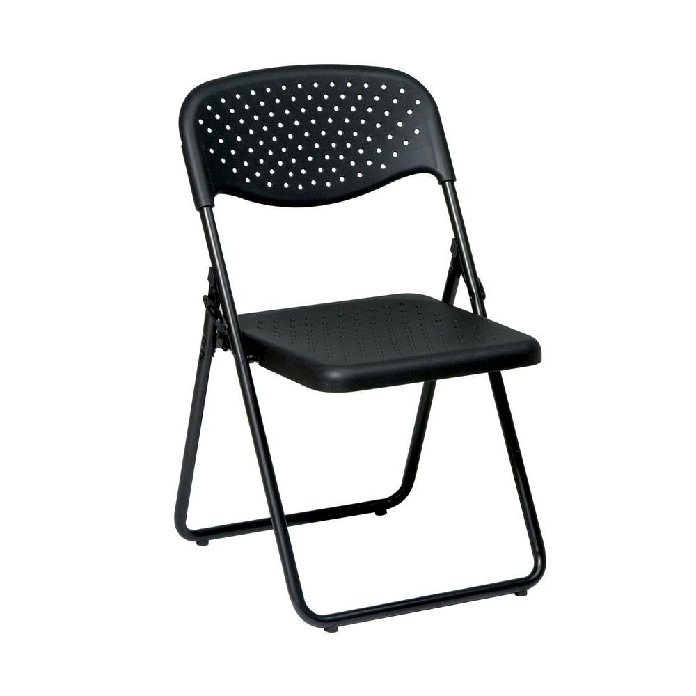 Office Star Products Black Plastic Seat Stackable Folding Chair Set
