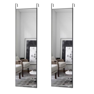 Large Rectangle Black Hooks Modern Mirror (48 in. H x 14 in. W)