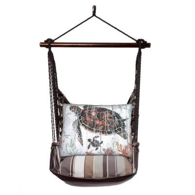 3-Piece Wood Polyester Cushioned Porch Swing with Turtle and Baby Print Back Pillow
