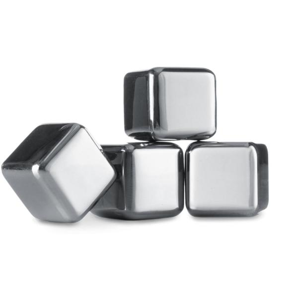 4-Piece Stainless Steel Whiskey Stones Bar/Beverage Accessory Set