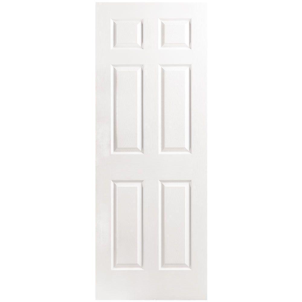 Masonite 30 in. x 80 in. 6-Panel Right-Handed Hollow-Core Textured Primed Composite Single Prehung Interior Door