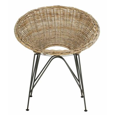 Sierra Grey Wash/Dark Steel Rattan Accent Chair