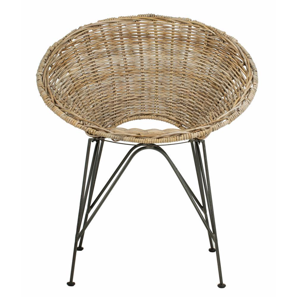 Wicker Accent Chairs.Safavieh Sierra Grey Wash Dark Steel Rattan Accent Chair Ach6501a