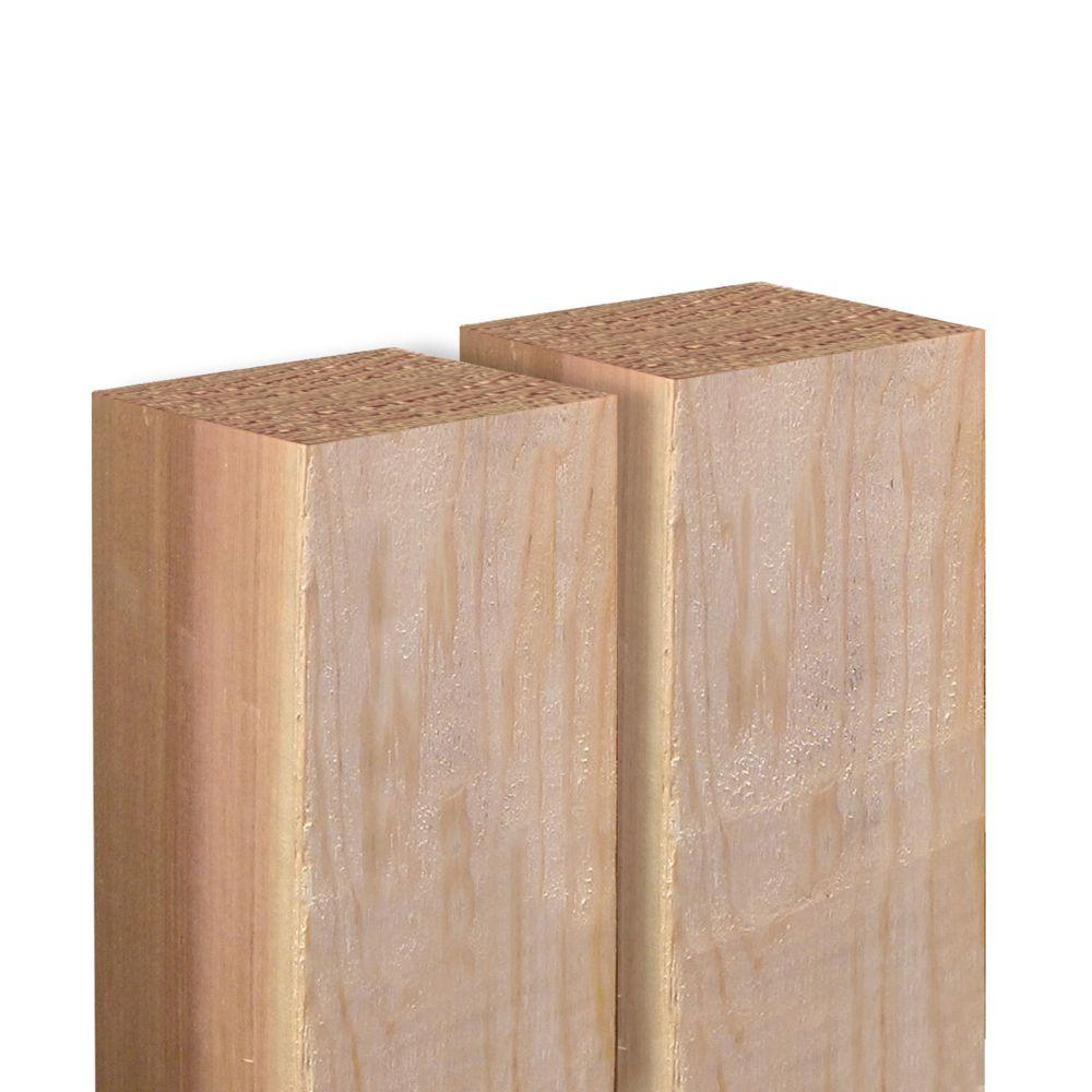 Outdoor Essentials 4 in. x 4 in. x 6 ft. Western Red Cedar Fence Post (2-Pack)