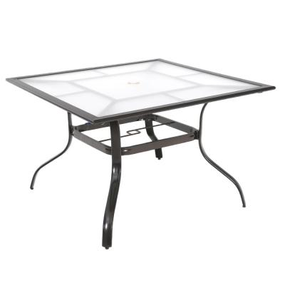42 in. Commercial Aluminum Square Outdoor Patio Acrylic Top Dining Table in Brown
