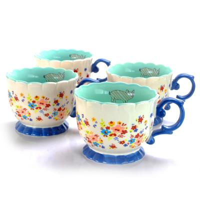 Life On The Farm 20 oz. Cream Ditzy Floral Design Footed Tea Cup (Set of 4)