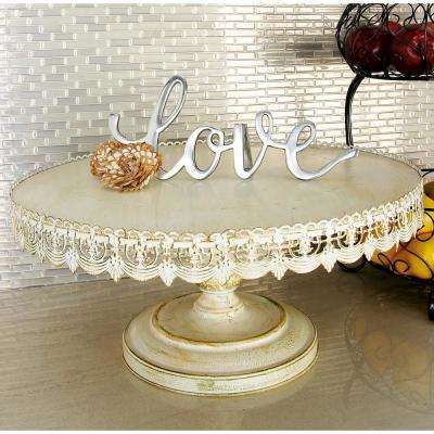 22 in. W x 10 in. H Whitewashed and Rust Brown Round Iron Cake Stand with Floral Bunting Overhang