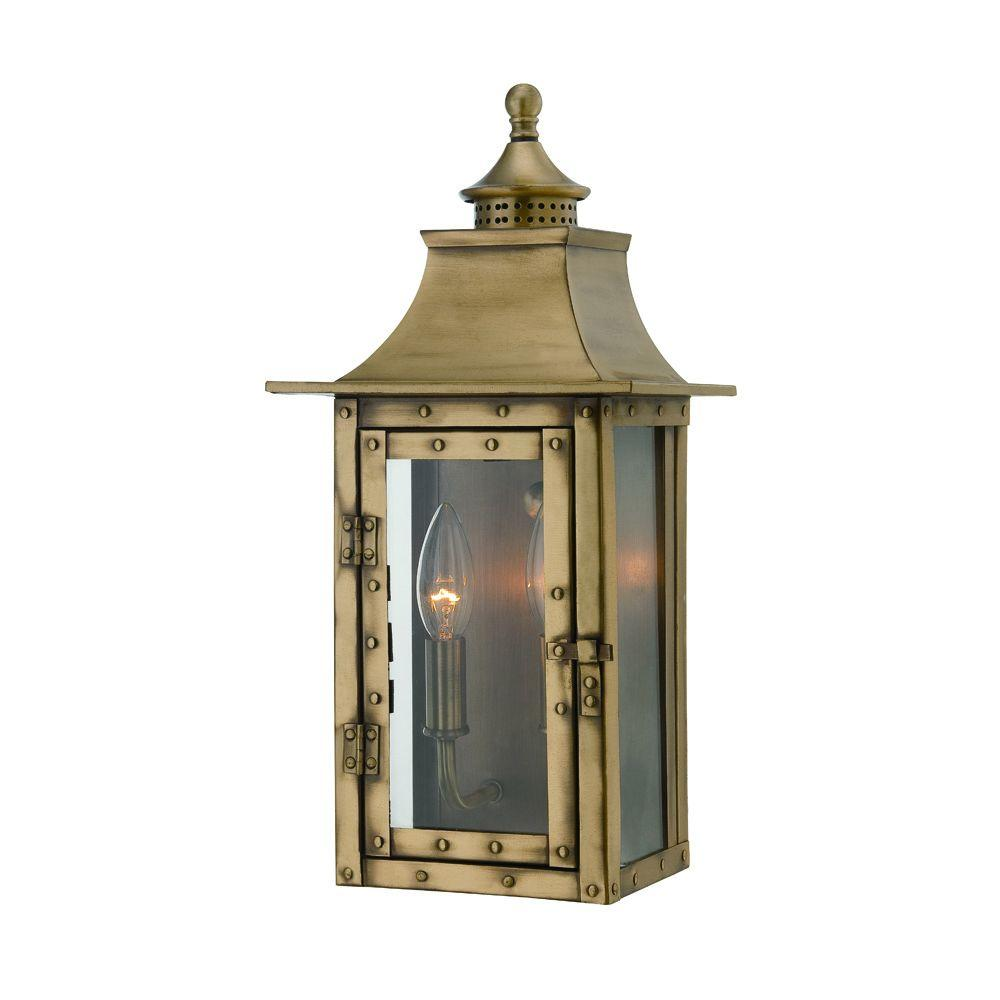 Acclaim Lighting St. Charles Collection 2-Light Aged Brass Outdoor Wall-Mount Light Fixture