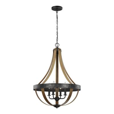 Davlin 22 in. W. 4-Light Weathered Gray and Distressed Oak Pendant