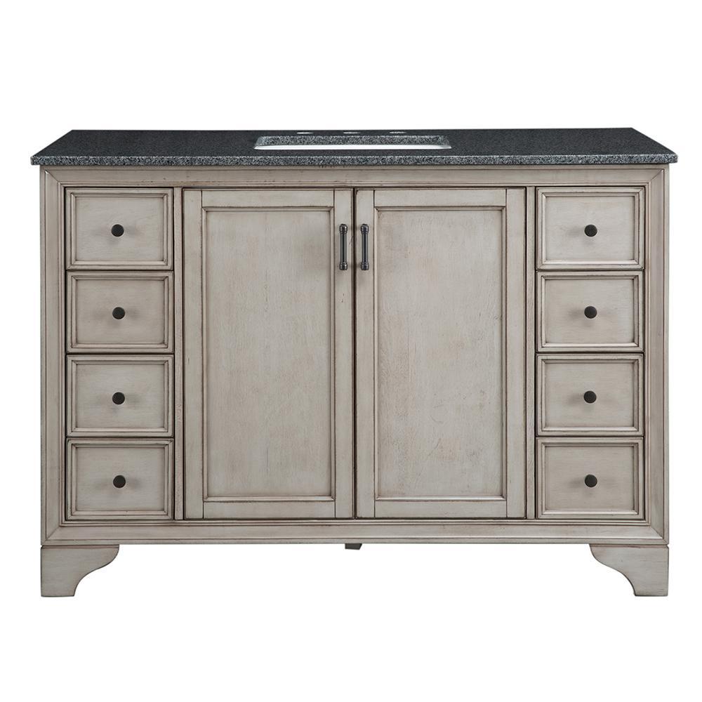 Home Decorators Collection Hazelton 49 in. W x 22 in. D Bath Vanity in Antique Grey with Granite Vanity Top in Dark Grey