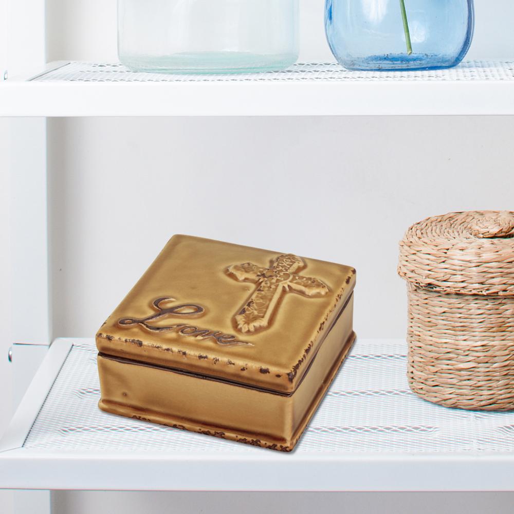 4.5in x 4.5in Ceramic Amber Love Box