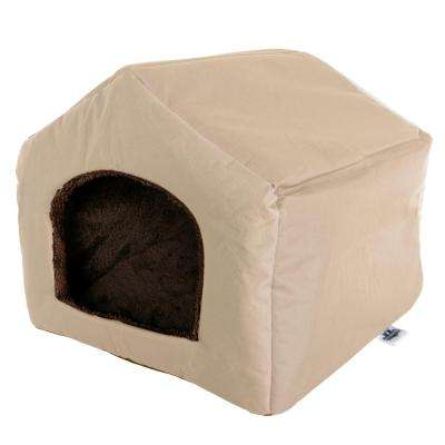 Small Tan Polyester Cozy Cottage House Shaped Pet Bed