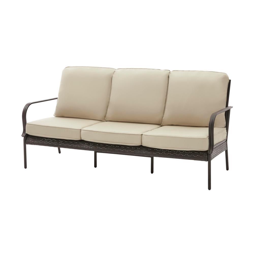 Hampton Bay Becker Dark Mocha Steel Outdoor Patio Sofa with Sunbrella Beige  Tan Cushions
