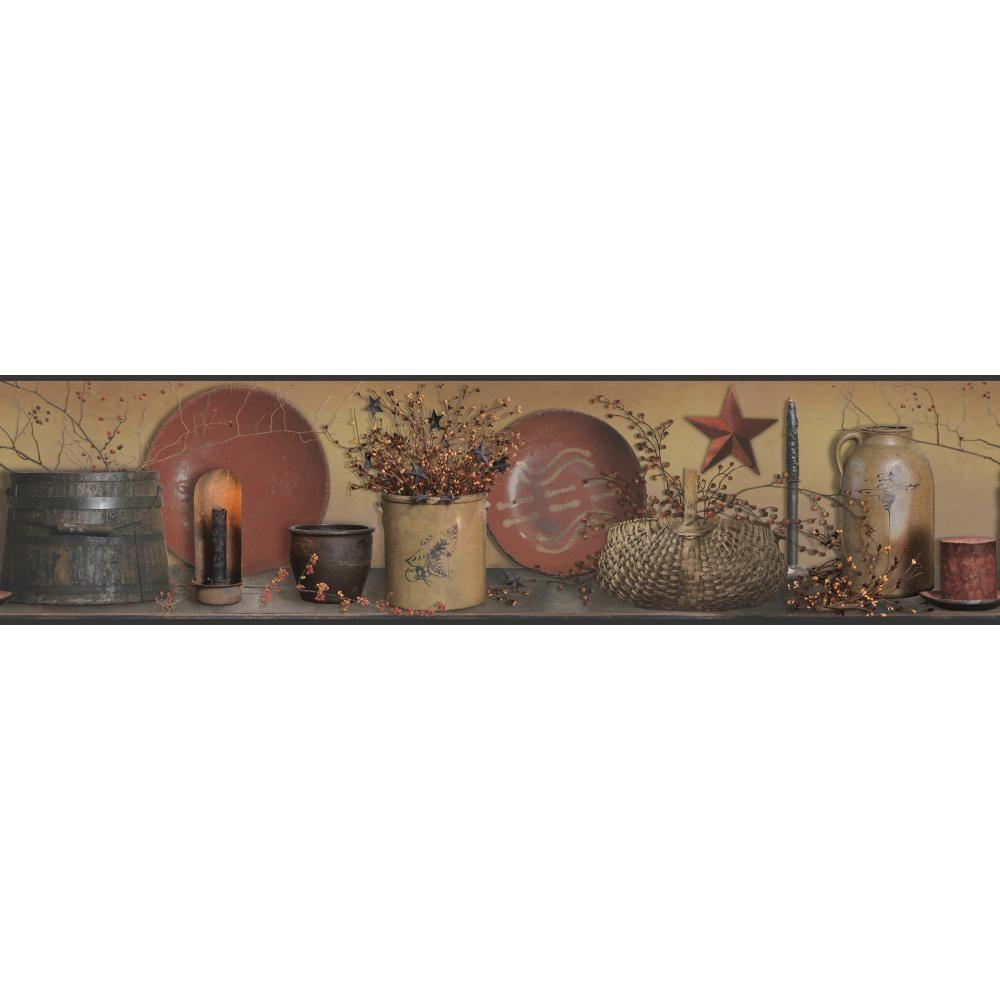 Country Keepsakes Simple Blessings taupe, red, black, brown, gold, orange Wallpaper Border