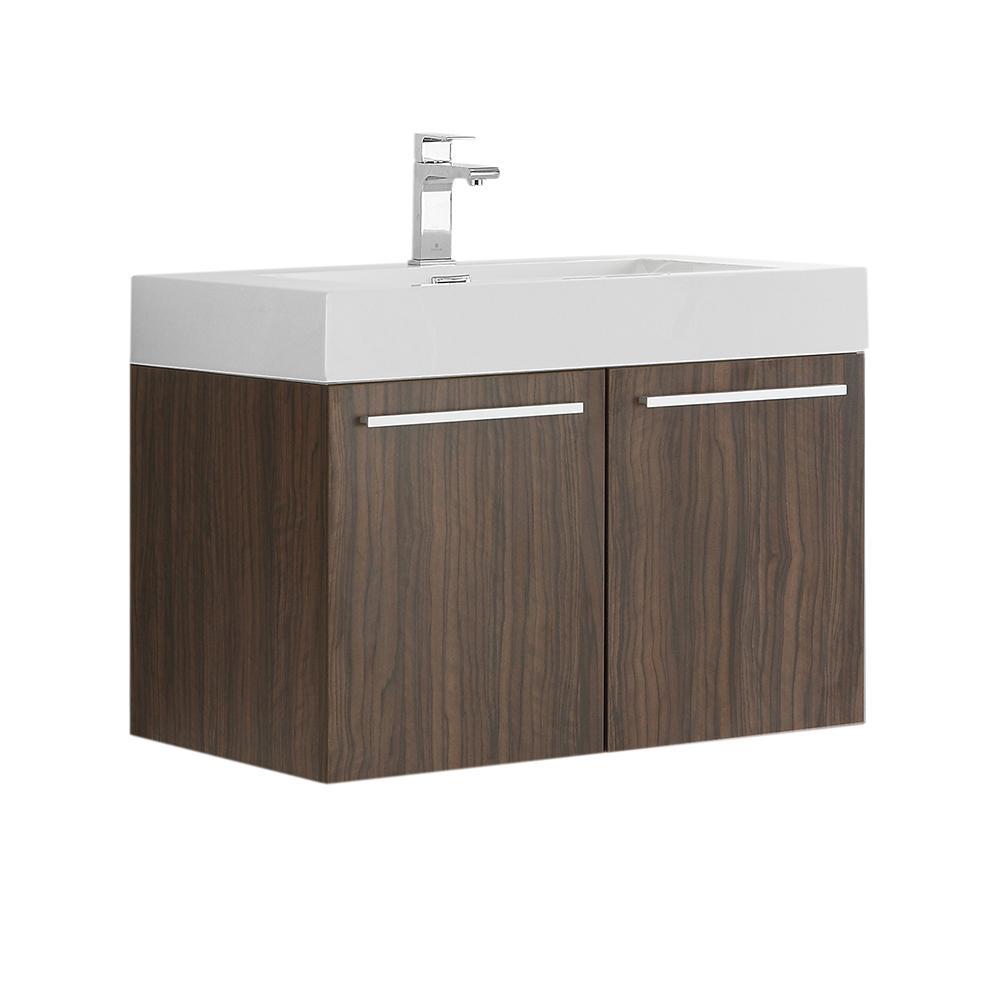 Fresca Vista 30 in. Modern Wall Hung Bath Vanity in Walnut with Vanity Top in White with White Basin