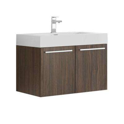 Vista 30 in. Modern Wall Hung Bath Vanity in Walnut with Vanity Top in White with White Basin