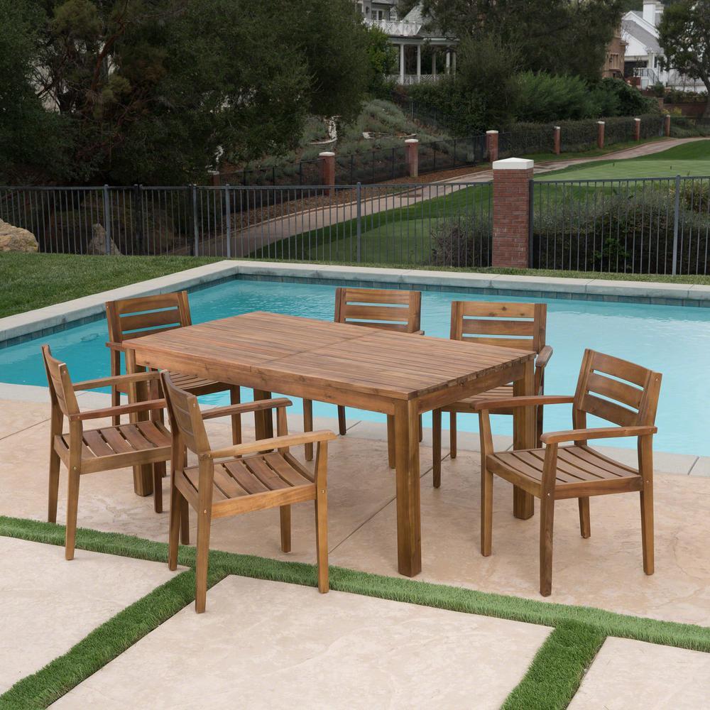 Aloha Multi-Brown 7-Piece Wicker Outdoor Dining Set