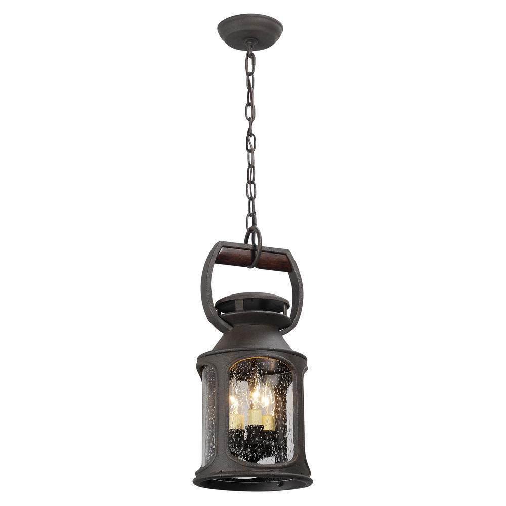Old Trail 3-Light Centennial Rust Outdoor Pendant