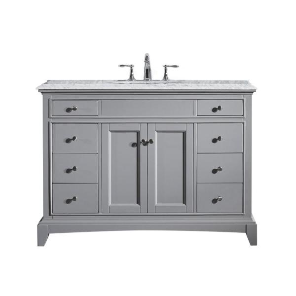 Elite Stamford 48 in. W x 23.5 in. D x 36 in. H Vanity in Gray with Carrera Marble Top in White with White Basin