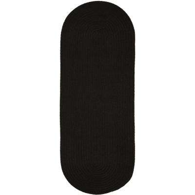 Texturized Solid Black Poly 2 ft. x 8 ft. Braided Runner Rug