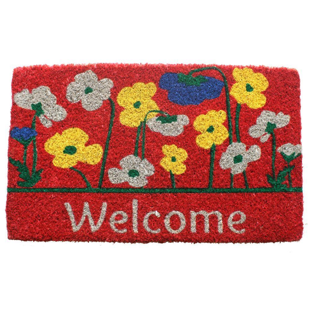 Poppies Welcome 18 in. x 30 in. Hand Woven Coconut Fiber Door Mat