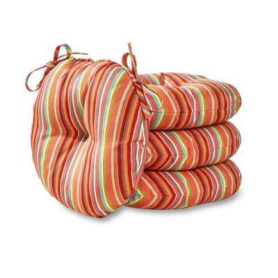 Watermelon Stripe 15 in. Round Outdoor Seat Cushion (4-Pack)