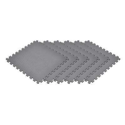 Gray 24 in. x 24 in. x 0.47 in. Foam Garage Flooring Interlocking Mat (6-Pack)