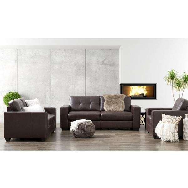 CorLiving Club 3-Piece Tufted Chocolate Brown Bonded Leather Sofa Set LZY-141-Z1