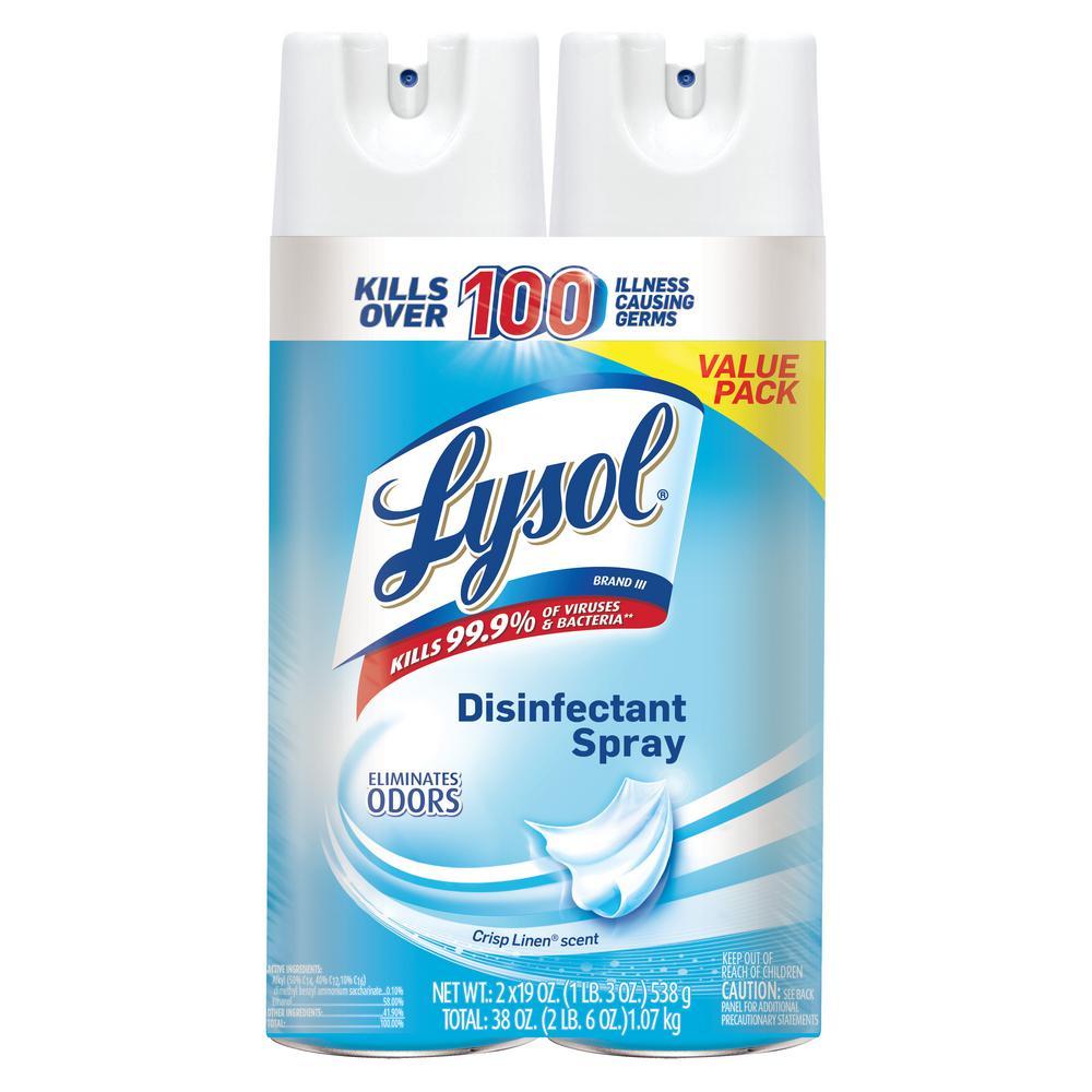Lysol 19 oz. Crisp Linen Disinfectant Spray (2-Pack)