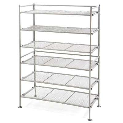 Satin Pewter 3-Tier Iron Mesh Utility Shoe Rack (2-Pack)