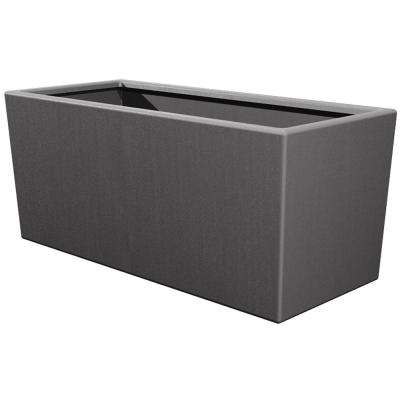 Toscana 14 in. L x 39 in. W x 24 in. H Smoke Plastic Rectangle Patio Planter