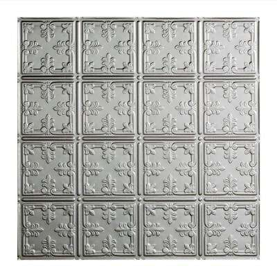 Traditional 10 - 2 ft. x 2 ft. Lay-in Ceiling Tile in Crosshatch Silver