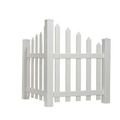 4 ft. H x 3.5 ft. W White Vinyl Scalloped Spaced Picket Corner Accent Fence Panel Kit