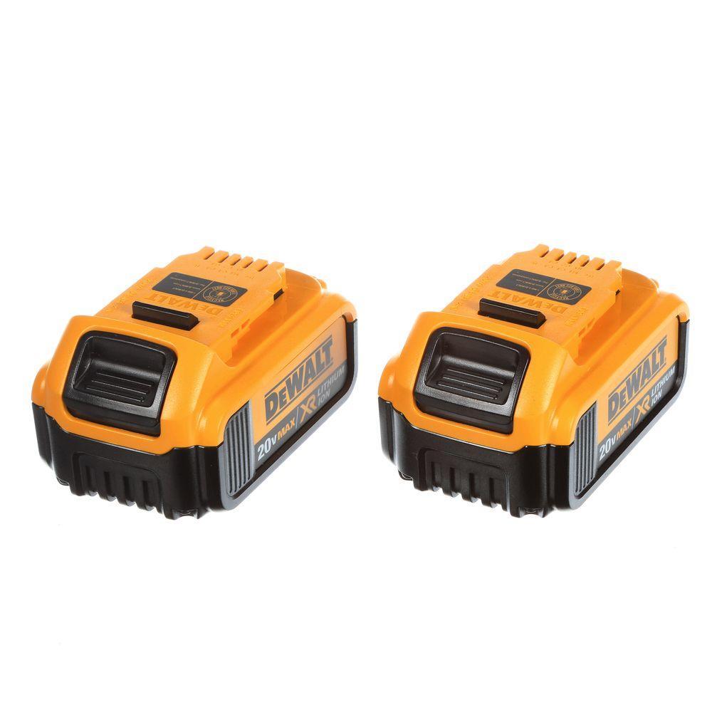 DEWALT 20-Volt MAX XR Lithium-Ion Premium Battery Pack 4.0Ah (2-Pack ...