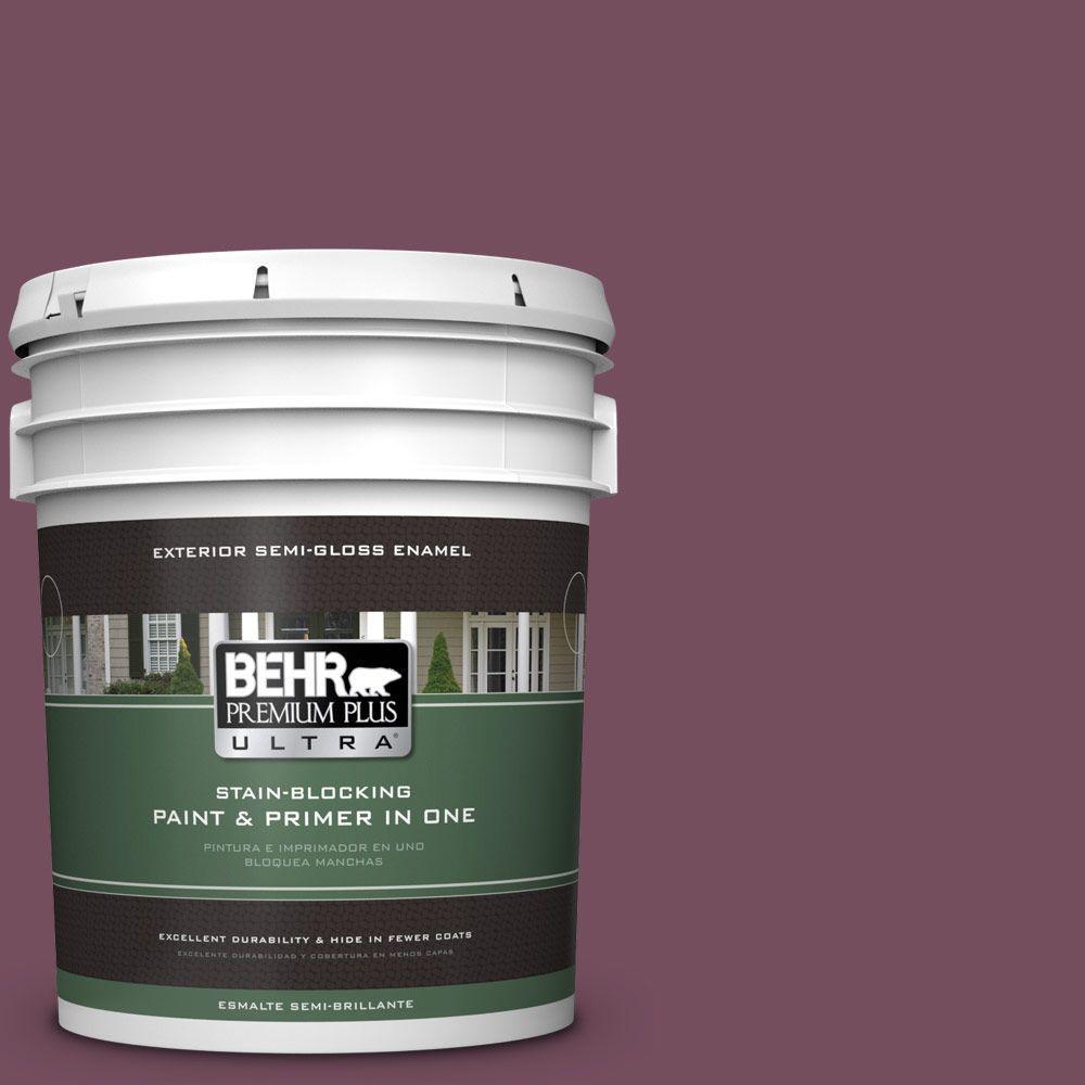 BEHR Premium Plus Ultra 5-gal. #S120-7 Fine Wine Semi-Gloss Enamel Exterior Paint
