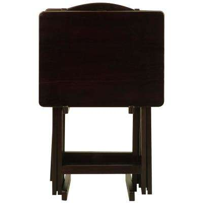 5-Piece Espresso Foldable Tray Table