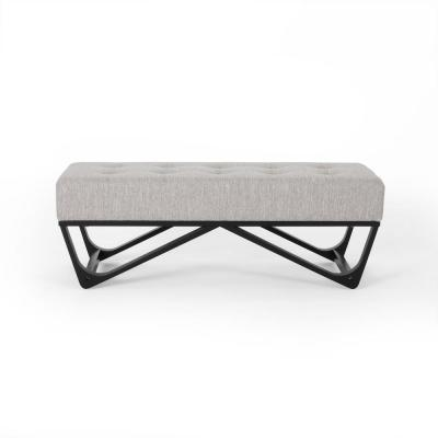 Assisi 16.50 in. x 47.25 in. x 17.50 in. Light Grey and Black Ottoman Bench