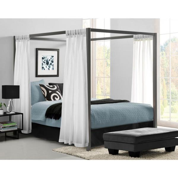 Dhp Rory Metal Canopy Grey Queen Size Bed Frame De23556 The Home Depot