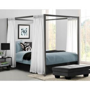 2 DHP Modern Canopy Metal Queen Size Bed Frame In Gunmetal Grey