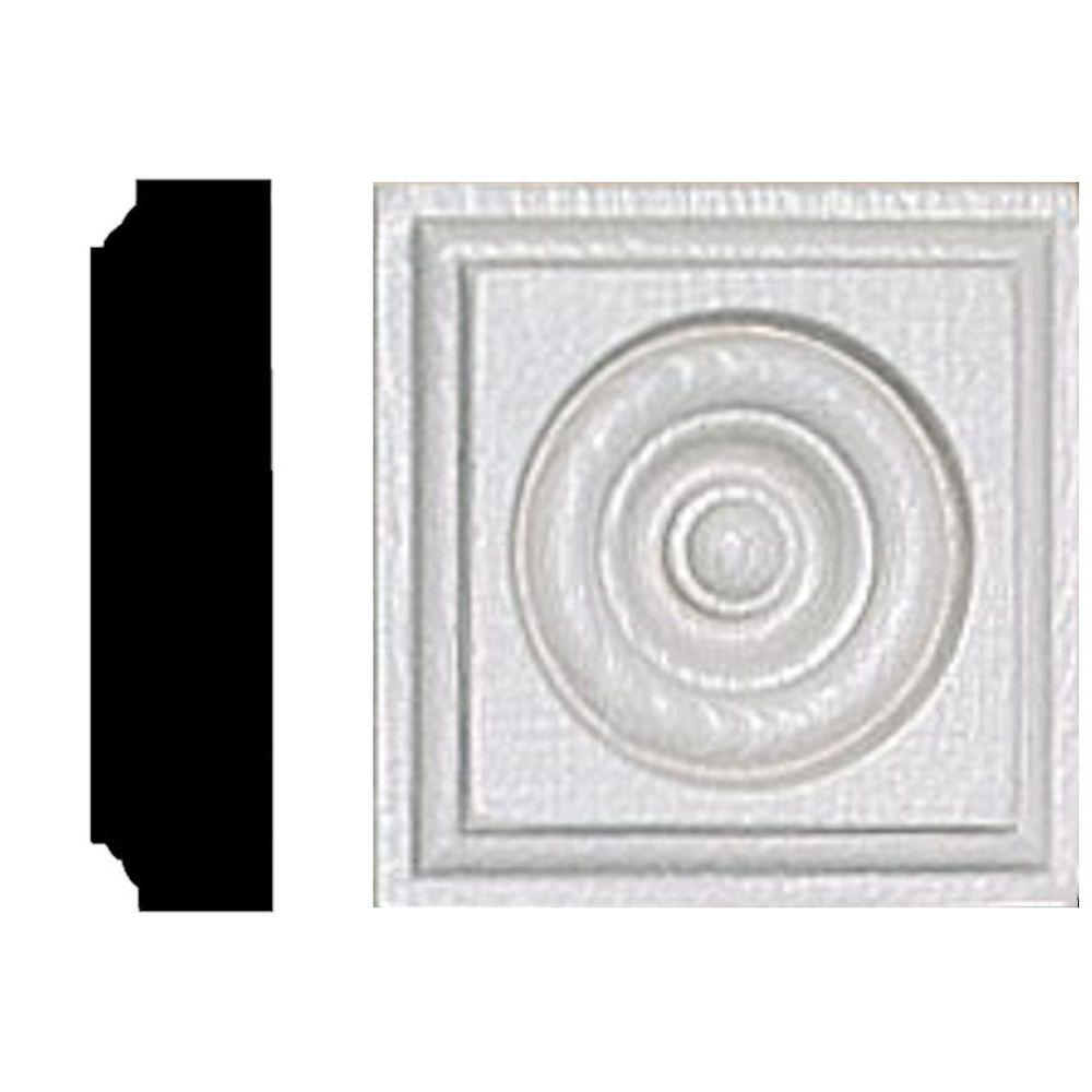 House of Fara 7/8 in. x 3-1/2 in. x 3-1/2 in. MDF Rosette Block Moulding