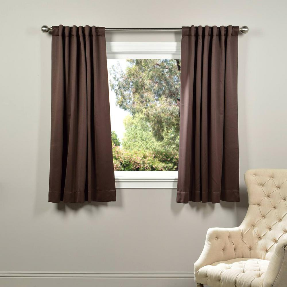 exclusive fabrics & furnishings semi-opaque java brown blackout curtain - 50 in. w x 63 in. l