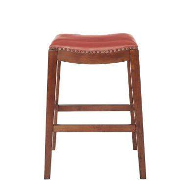 Metro 29 in. Saddle Stool with Nail Head Accents and Espresso Legs with Cranberry Bonded Leather