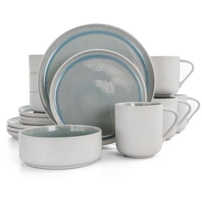 Global Edge 16-Piece Casual Light Blue Stoneware Dinnerware Set (Service for 4)