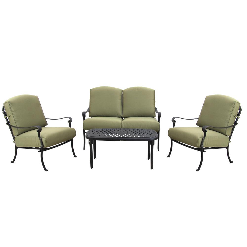 Edington 4-Piece Patio Deep Seating Set with Celery Cushions