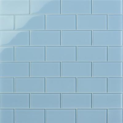 Contempo Blue Gray 6 in. x 3 in. x 8mm Polished Glass Floor and Wall Subway Tile (32-Piece/4 sq. ft./Case)