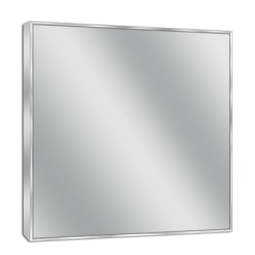 30 in. W x 36 in. H Framed Rectangular Bathroom Vanity Mirror in Brush nickel