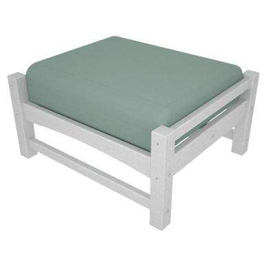 Club White Plastic Patio Ottoman with Sunbrella Spa Cushions